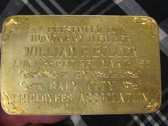 14K Gold Award POLICE CHIEF Daly City California NOT BADGE 1933