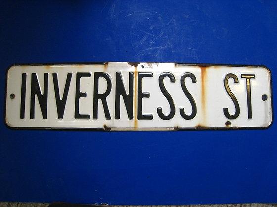Porcelain Street Sign INVERNESS STREET California POINT REYES LIGHTHOUSE