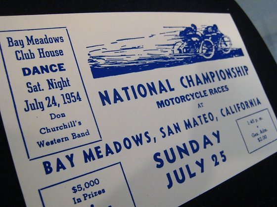 1954 ADVERTISING Motorcycle Races BAY MEADOWS CHAMPIONSHIP