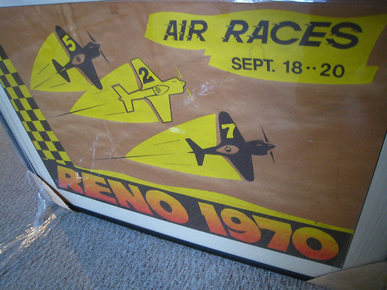 Artist Signed RENO AIR RACES 1970 Framed Art - NEVADA EVENT