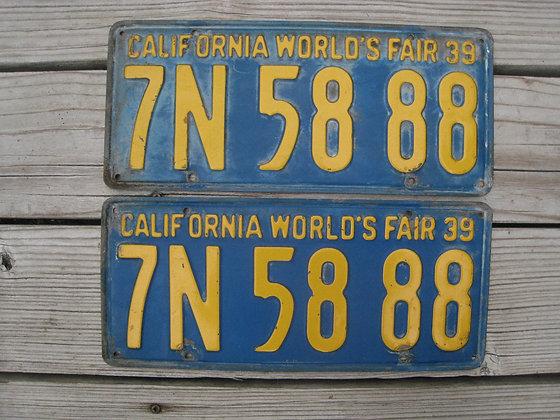 License Plates CALIFORNIA 1939 World's Fair San Francisco