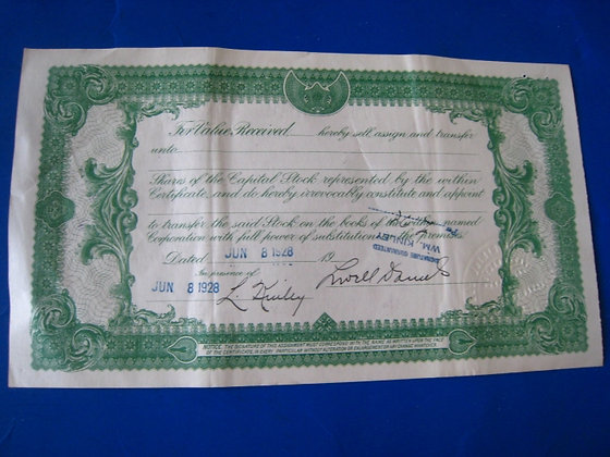 Mining Certificate 1928 TONOPAH NEVADA 1,000Shares