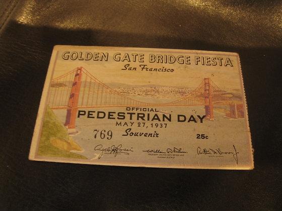 Rare SAN FRANCISCO CA May 1937 GOLDEN GATE BRIDGE Pedestrian Pass