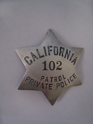 CALIFORNIA Private Police PATROL Badge STERLING SILVER