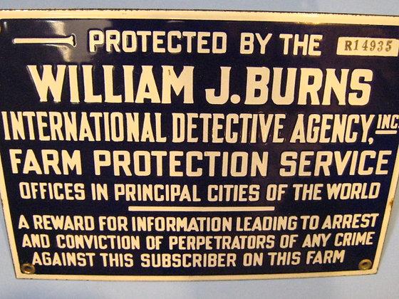 Antique Porcelain Sign WILLIAM J. BURNS INTL