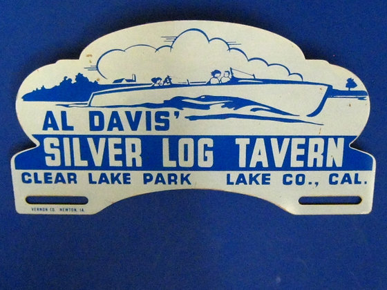 1950's License Plate Topper SILVER LOG TAVERN