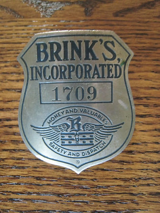 Vintage EMPLOYEE Badge BRINK'S ARMORED CAR SERVICE Money BANK
