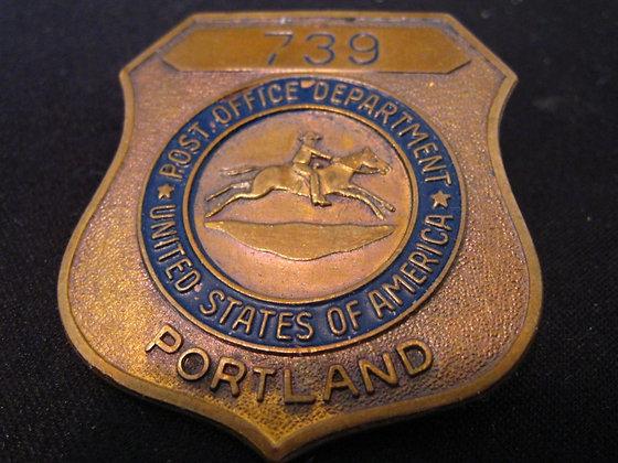 MAIL CARRIER POST OFFICE BADGE PORTLAND, OREGON
