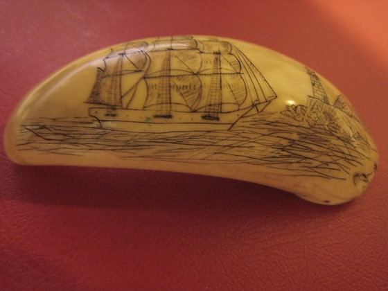 ANTIQUE Scrimshaw WHALE TOOTH HISTORICAL NAUTICAL