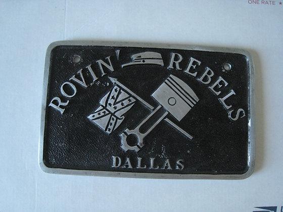 1950'S Car Club Plaque ROVIN REBELS Dallas Texas CONFEDERATE FLAG
