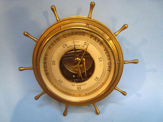 VINTAGE Ship's Wheel Barometer LOUIS WEULE San Francisco
