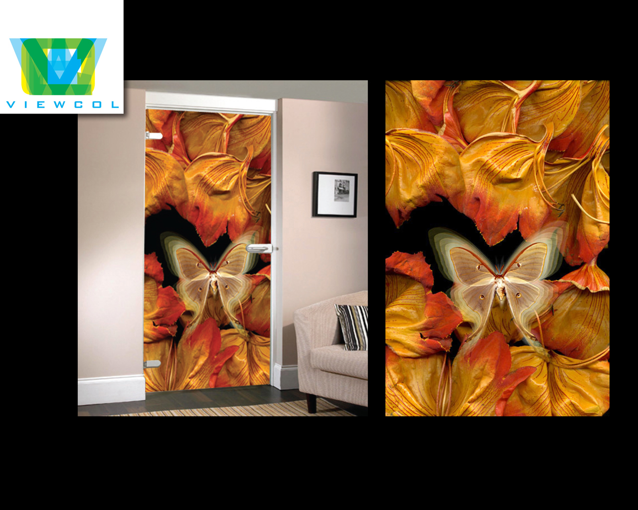 African tulip image printed on glass