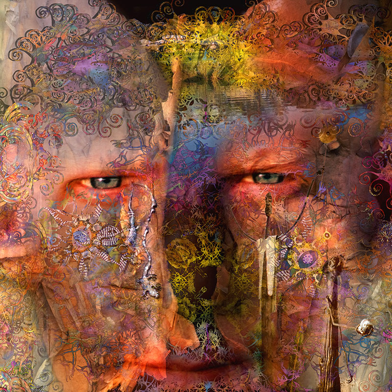 This Image was created for the cover of an album called ozoneman by Jerome Lyons at the Cheese Factory Studio Gallery in Adelaide. It comprises of his portrait split to show the two sides of the human creativity.
