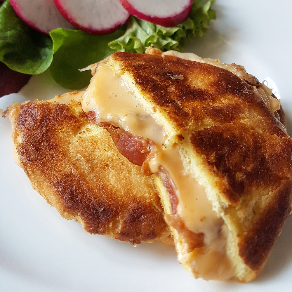 Grilled Cloud Bread with Bacon & Cheddar Cheese