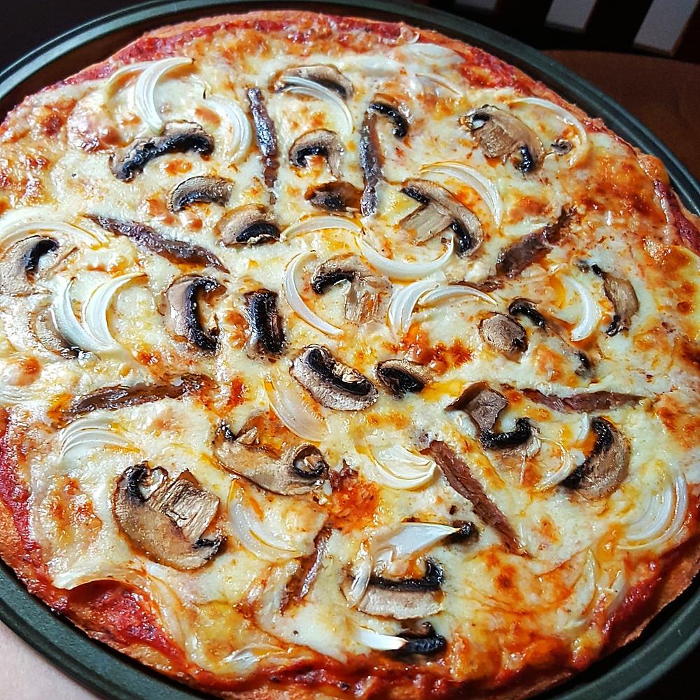 Mushroom Anchovy Pizza Low Carb Keto Fathead