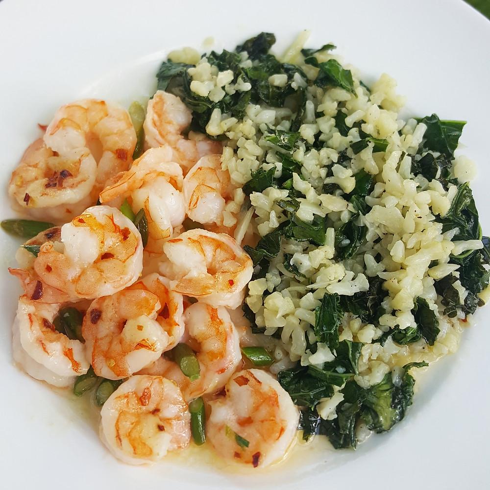 Garlic Scape Shrimp Scampi with Kale & Cauliflower Rice | Low Carb | Keto