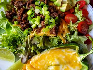 Carne Asada Street Taco Salad with Cheesy Stuffed Poblanos| Keto | Low Carb