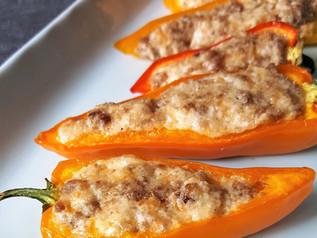 Breakfast Sausage Stuffed Sweet Peppers | Keto | Low Carb