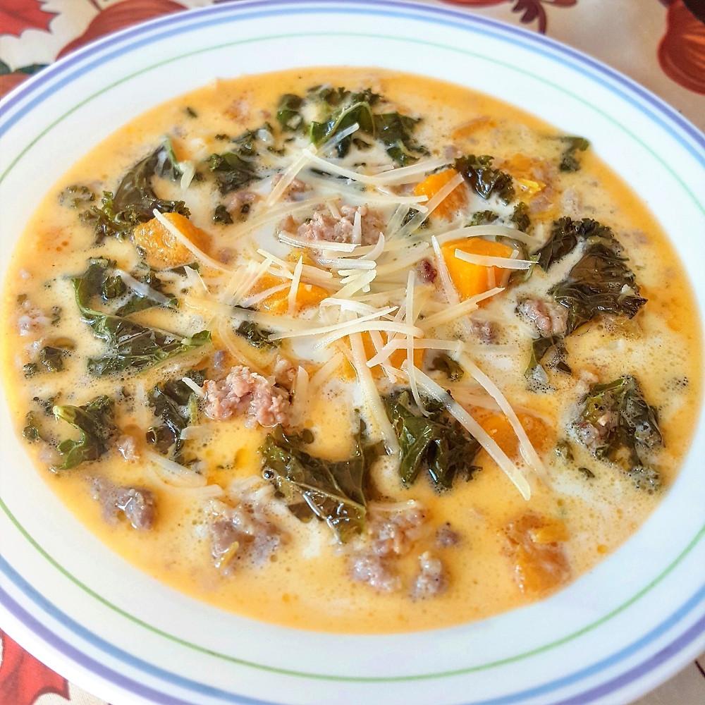 Pumpkin, Sausage & Kale Soup   Low Carb  Keto