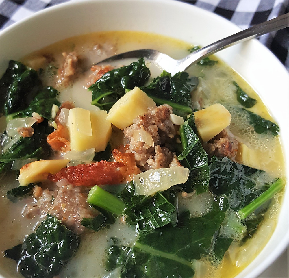 Sausage Kale Soup with Parsnips | Dairy Free | Keto | Low Carb