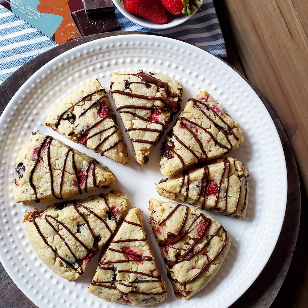 Strawberry Chocolate Chunk Scones | Keto | Low Carb | Gluten-Free