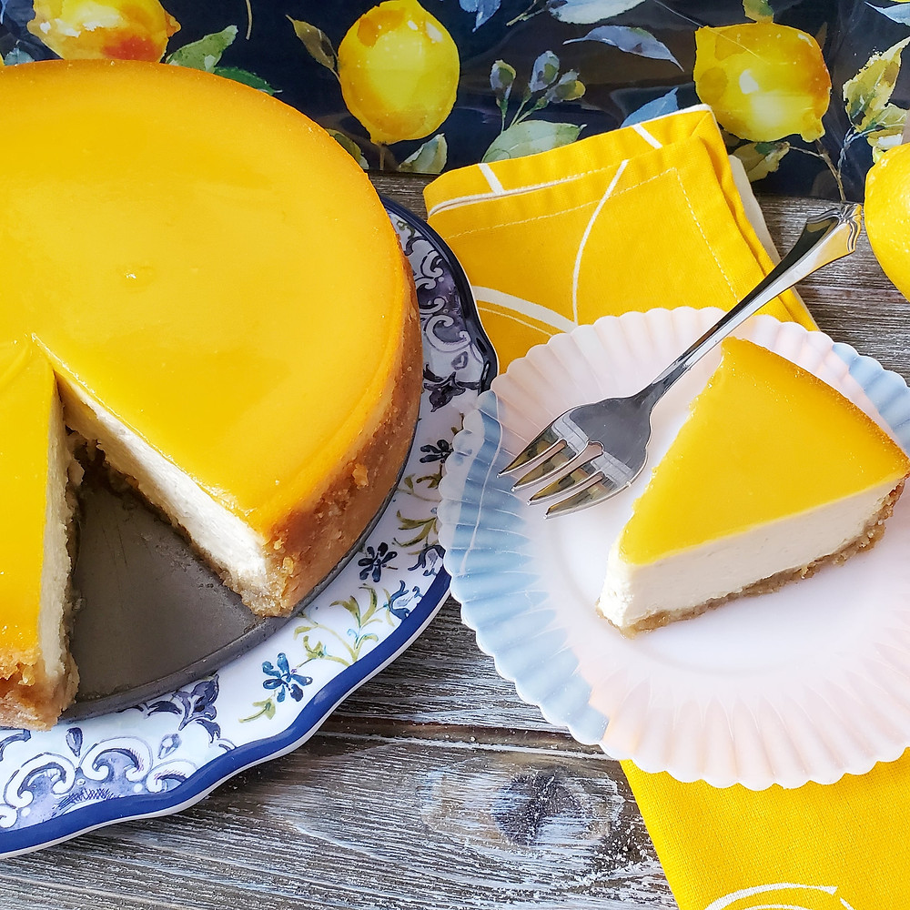 Olive Oil Lemon Curd Cheesecake | Keto | Low Carb | Sugar-Free | Gluten-Free