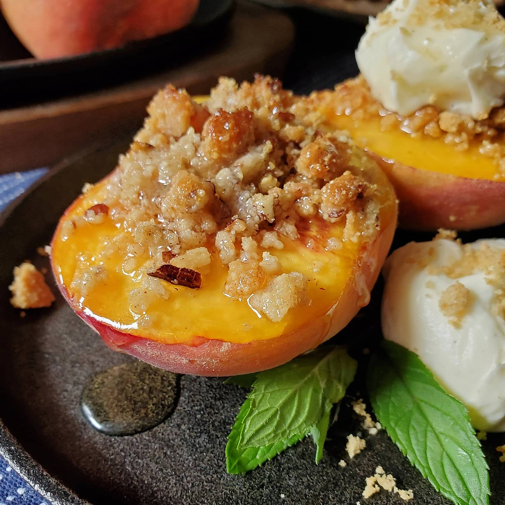 Baked Peaches with Mascarpone and Golden Balsamic Reduction   Keto   LowCarb