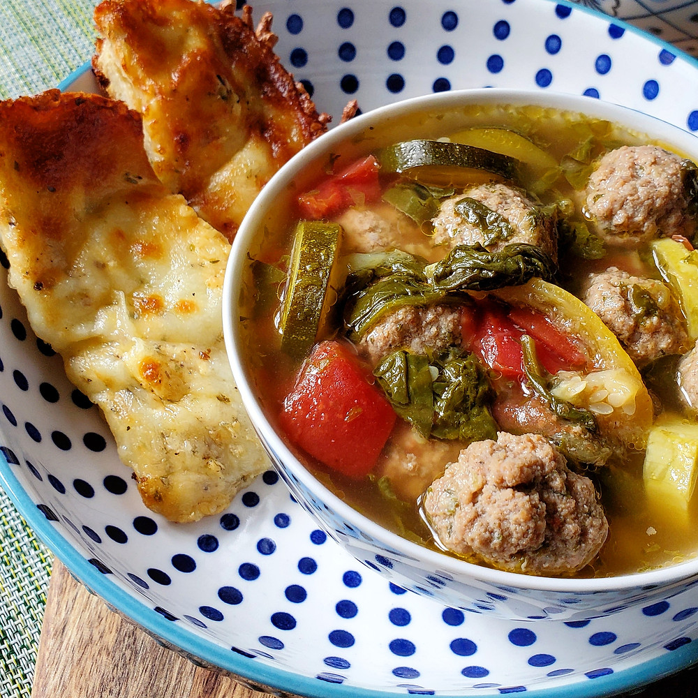 Meatball Vegetable Soup & Cheesy Garlic Bread | Keto | Low Carb