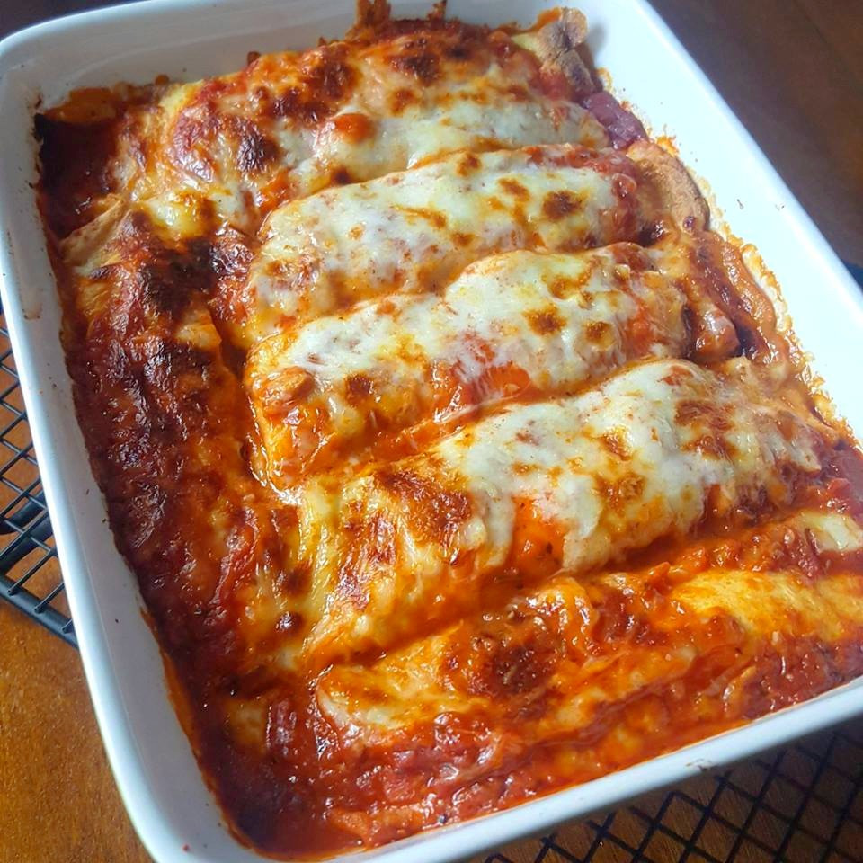 Baked Low Carb Manicotti, Crepe-Style
