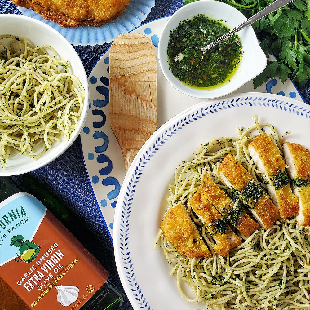 Crispy Garlic Chicken Cutlets with Parsley Pesto Pasta | Keto | Low Carb | Gluten-Free