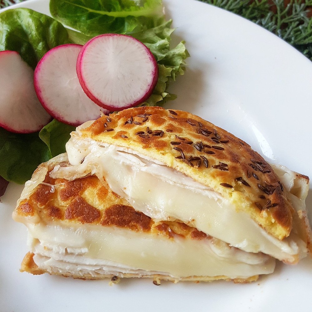 Keto Grilled Cloud Bread with Turkey & Swiss Cheese