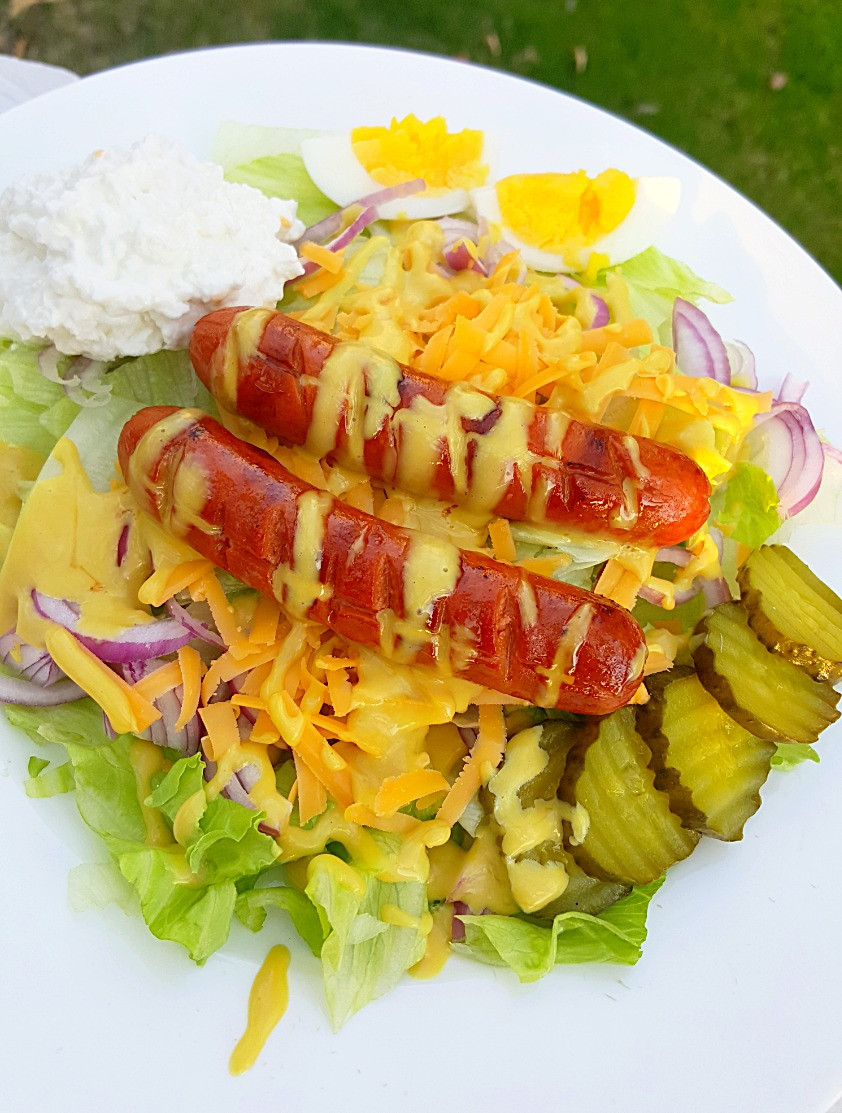 Hot Dog Salad with Keto Honey Mustard Dressing | Low Carb