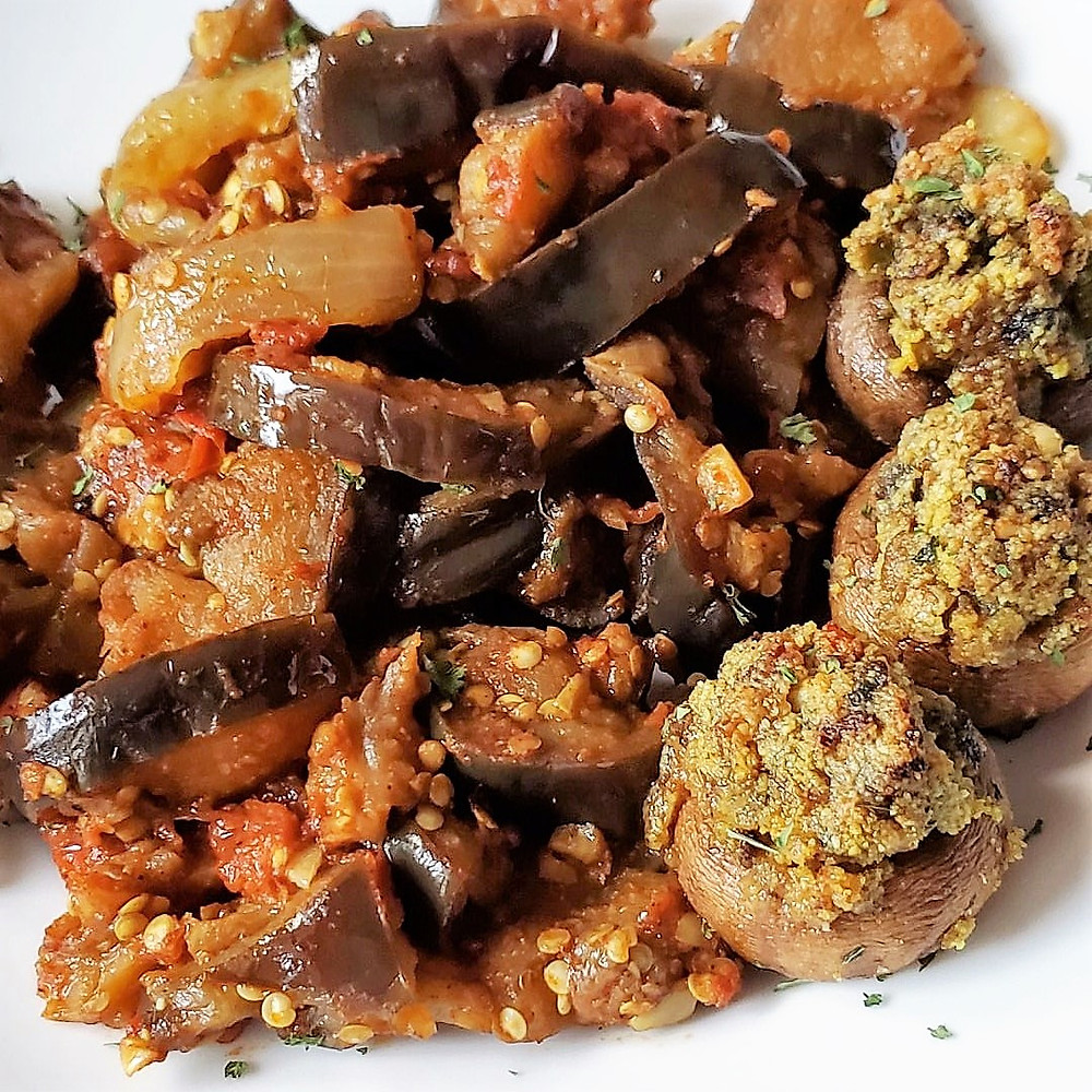 Eggplant Curry & Indian-style Stuffed Mushrooms