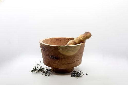 Hand Crafted Cedar Wood Pedestal and Mortar