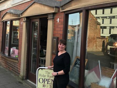 Leanne outside The Ridge Rooms Restaurant