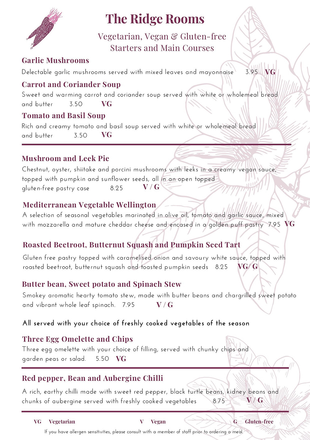 Vegetarian, Vegan, Gluten-free starters and main course, The Ridge Rooms Restaurant, Boston, Lincolnshire