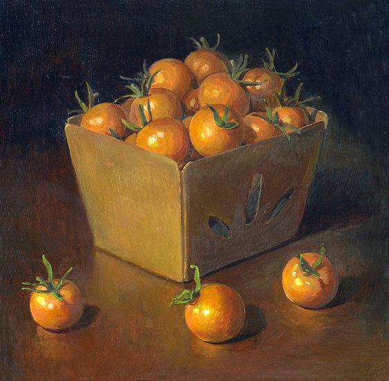 Yellow Cherry Tomatoes, Acrylic on panel