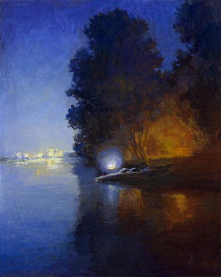 Night River, Acrylic on panel