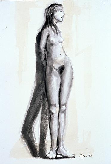Standing Female Nude, India ink on paper