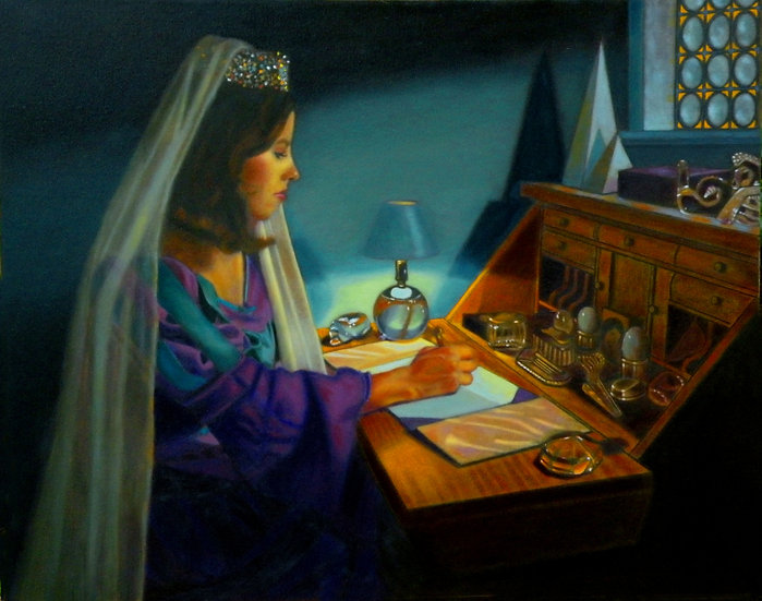 Charlotte Writing Letter, Oil