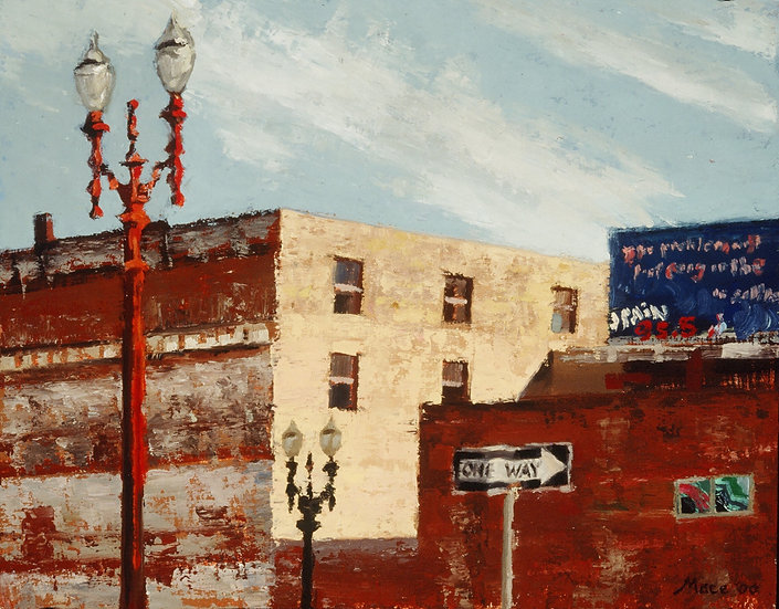 SW 3rd & Oak, Oil on panel