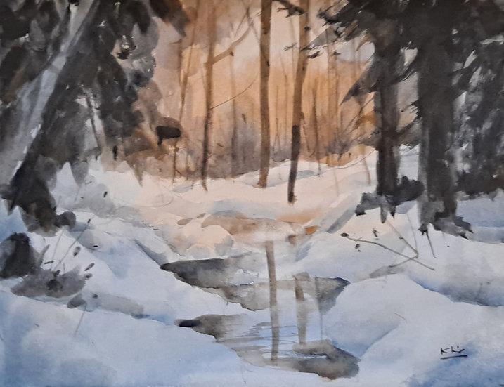 Snow Creek, Watercolor