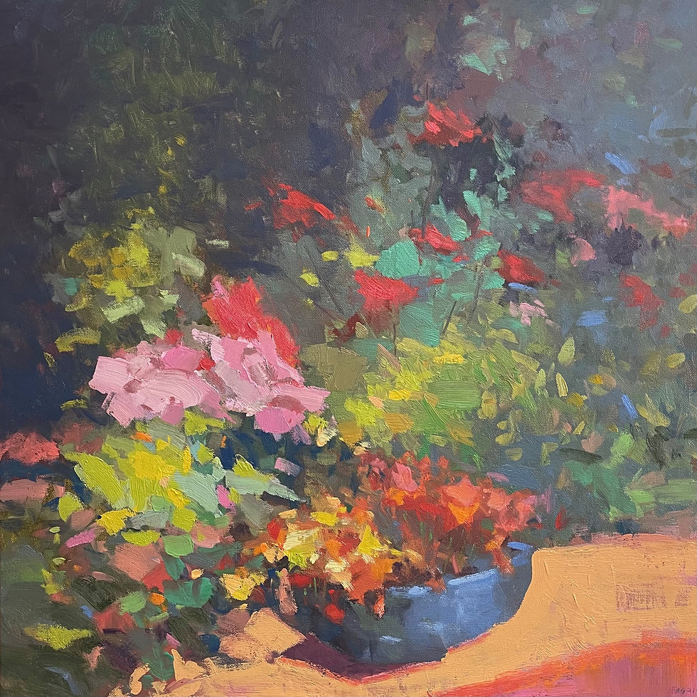 Backyard in Bloom by Scott Gellatly (gestural, painterly dabs of color that just convey a mix of pot