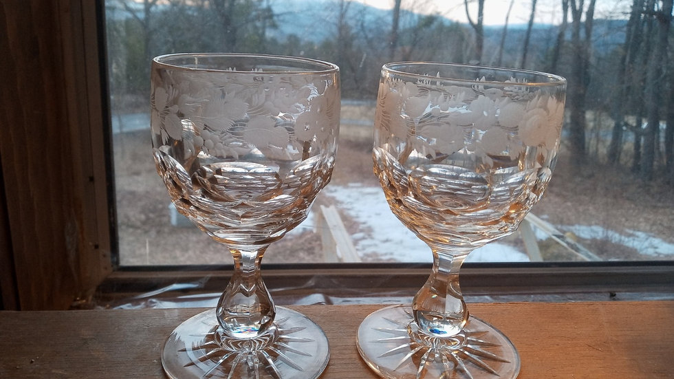 Pair of Engraved Clarets