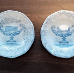 pair light blue staffordshire cup plates