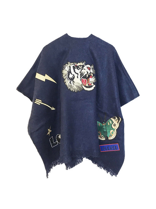 CITY PONCHO TIGER / BLUE