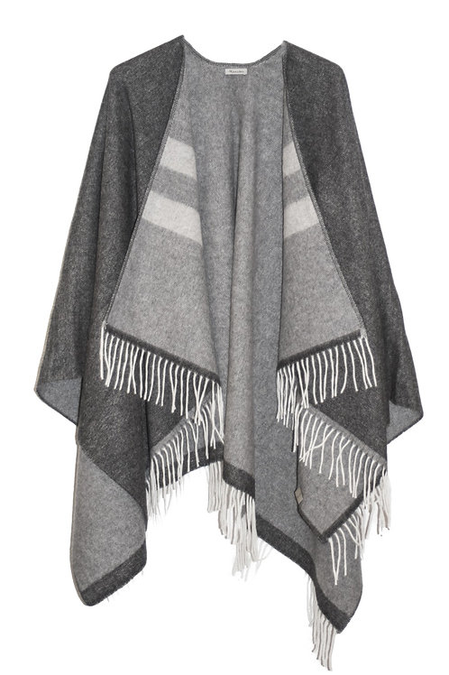 PONCHO / STRIPED GREY