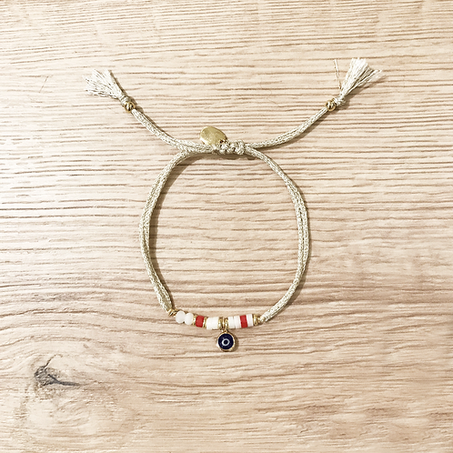 EVIL EYE SHINY GOLD -RED