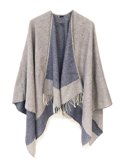 PONCHO / GREY-LIGHT BLUE