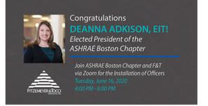 Deanna Adkison, EIT elected as ASHRAE Boston Chapter's President